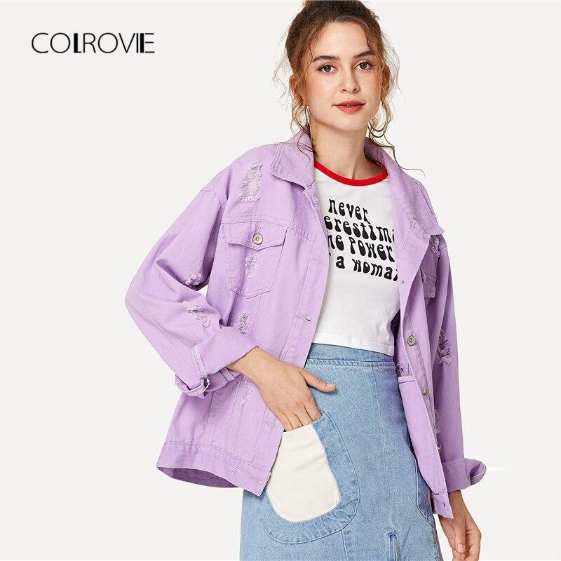 COLROVIE Ripped Drop Shoulder Women Denim Jackets 2018 Fall Oversize Purple Casual Female Jacket Coat Chic Jacket for Girls 1
