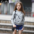 LouisDog Niñas Camiseta Ocasional Niños O Cuello de Jersey Sudadera Llena Swallow Imprimir 100% Algodón de Las Muchachas Ropa para la Primavera Otoño