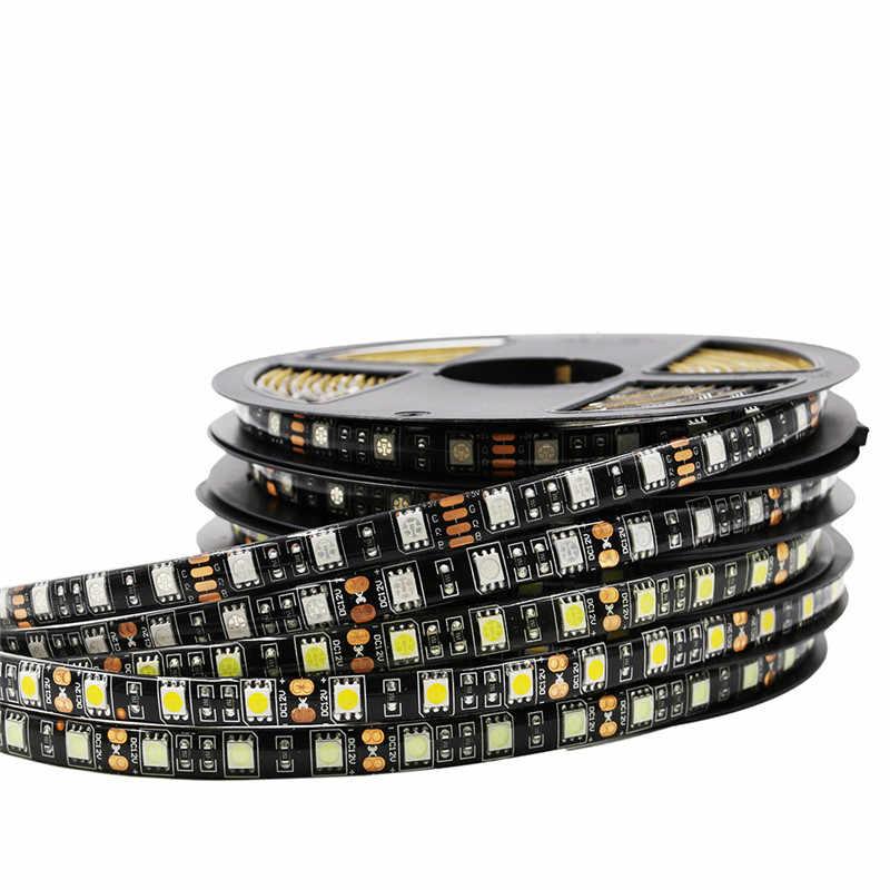 Цветная (RGB) Светодиодные ленты 5050 Черный PCB DC12V гибкий Подсветка Светодиодная лента 60 светодиодный/m Водонепроницаемый RGB/белый/синий/красный