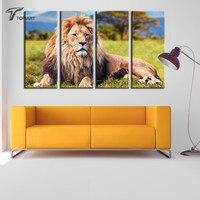 4แผงผ้าใบศิลปะสัตว์สิงโตจิตรกรรมแอฟริกันVeldขนาดใหญ่ตกแต่งพิมพ์ผ้าใบห้องนั่ง