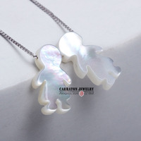 Genuine 925 Sterling Silver Mother Of Pearl Shell Boy And Girl Pendant Necklace
