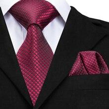 Hi-Tie Высокое качество шелковые галстуки для мужчин 160 см длинные модные красные галстуки 8 см широкие официальные клетчатые мужские галстуки s CZ-005