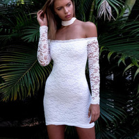 M H Artemis Lace Bodycon Dress Halter Women Mini Bandage Dress Floral Embroidery Party Dress Backless