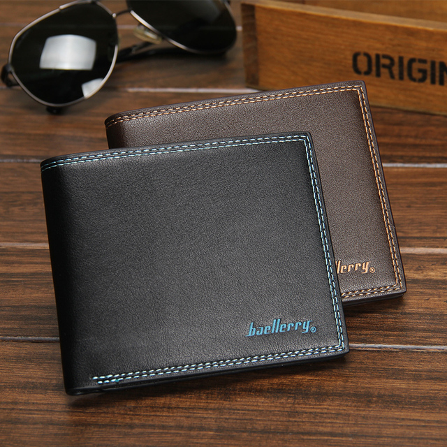 Baellerry New Black PU Leather Men Wallets Small Famous Brand Wallet Male  Designer Mens Purse Credit Card Coin Wallet Short 6eec4e3f6c654