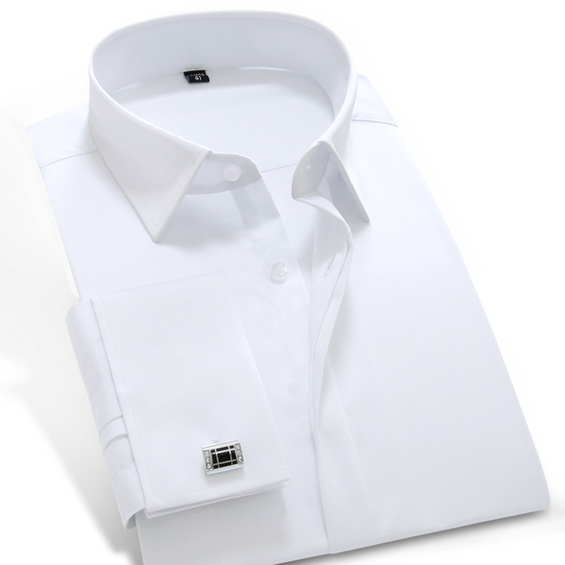 Men's Long Sleeve French Cuff Dress Shirt Covered Placket Comfortable Soft 100% Cotton Solid Tuxedo Shirts(Cufflink Included)