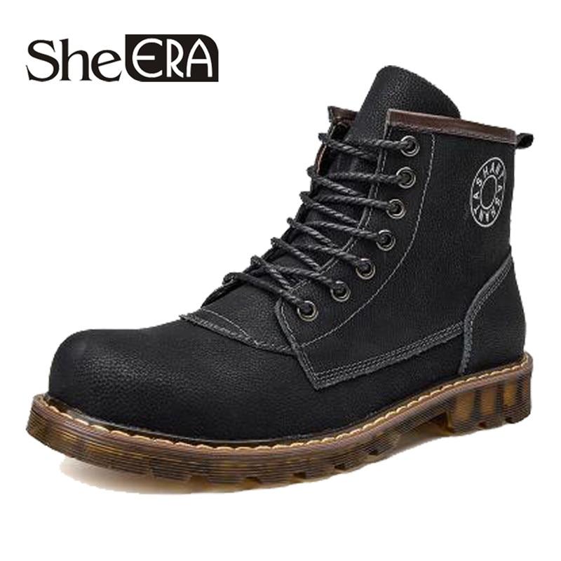 20df6870c4 Masculina Prova De D  Couro Lazer Super Inverno Água Livre Neve Ao Ar Botas  Sapatos Moda Retro Outono Borracha Homens ...