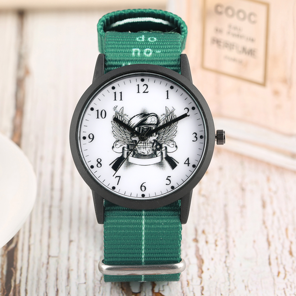 Children's Watch Nylon Strap Wristwatch Double Long Gun Pattern Quartz Watch for Boys Arabic Digital Watches