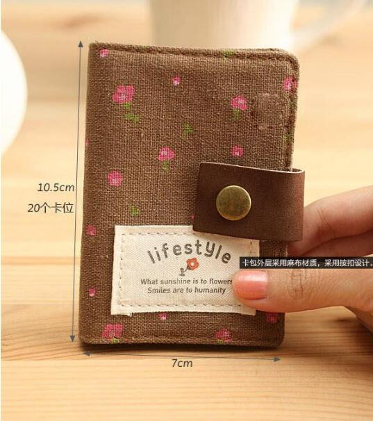 ID Card Holder Business Card Holder Cotton Fabric Cute Floral Female Credit Gift Card Wallet Women Passport Cover