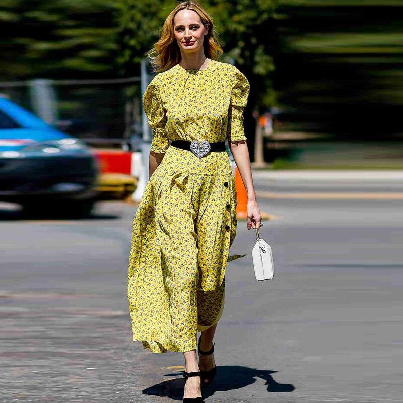 XF LanaDelRey avec la même Boho jaune Floral imprimé robe Midi 2019 été femmes nouveau Milan Catwalk Designer rétro robe de soirée