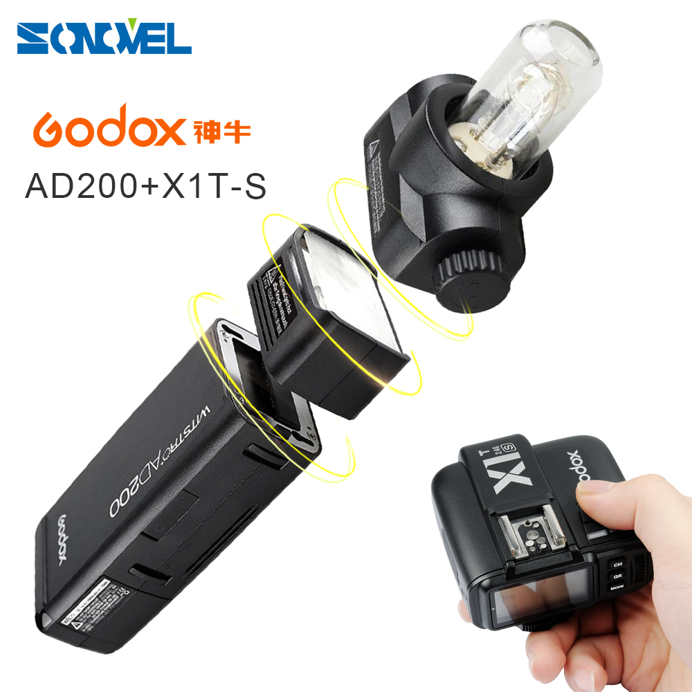 GODOX AD200 TTL 2.4G HSS 1/8000s Pocket Flash Light Double Head 200Ws w/ 2900mAh Lithium Battery+X1T-S Transmitter For Sony