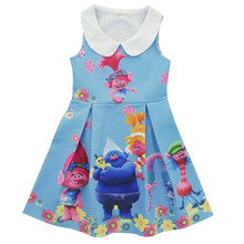 Trolls Princesse Robe Pour Les Filles Kids Party Robes Pour Filles Vêtements Net Fil Fille Robe Costumes Pour Enfants Vêtements 6-10Y
