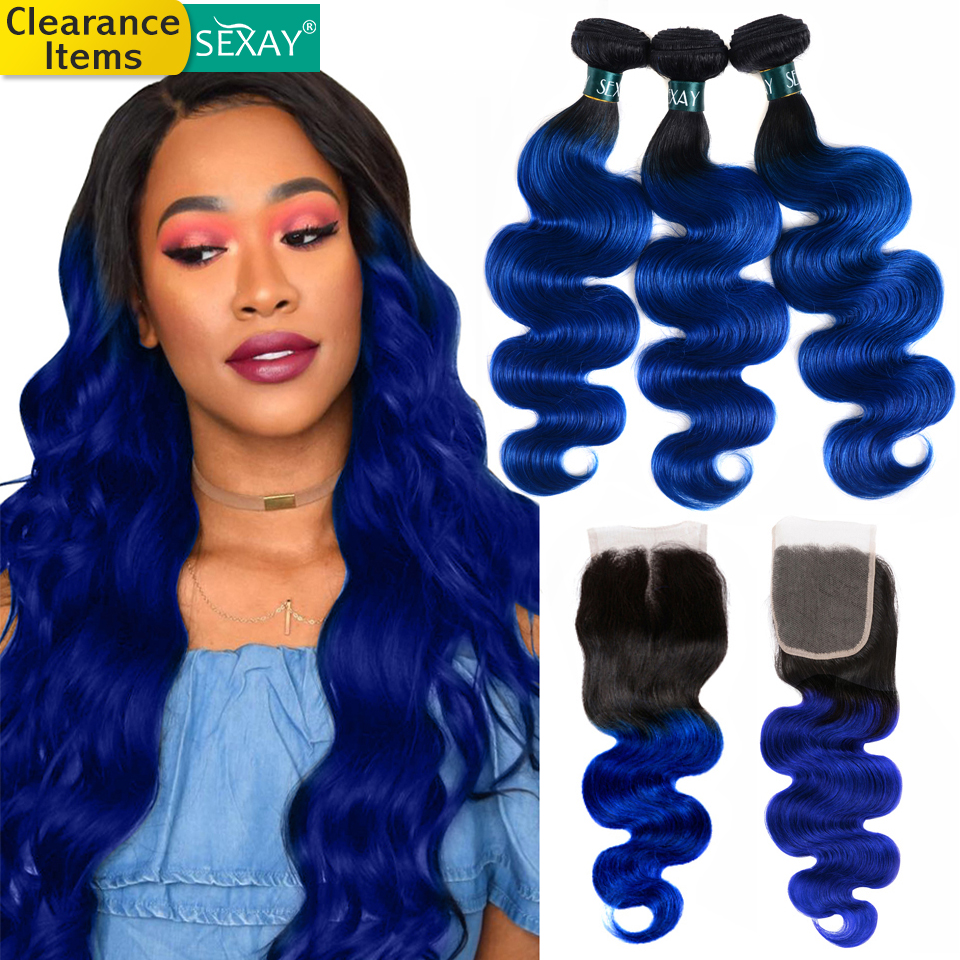 Sexay Blue Hair 3 Bundles With Closure Dark Roots Two Tone Ombre Human Hair Brazilian Body Wave Human Hair Bundles With Closure