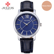 JULIUS Women's Watch Top Round Alloy Case Leather Strap Elegant Rose Gold Silver Black Blue Office ladies Switzerland Watches
