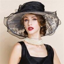 Kentucky derby sombreros para la fiesta del té de la vendimia vestidos de la iglesia sombreros para negro mujeres de ala ancha sombrero de organza chapeau femme de lujo sombrero