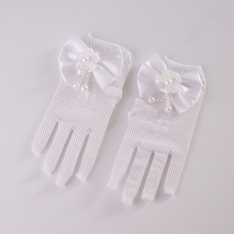 Infant Baby Elbow Pageant Dance Birthday Party Pink White Wedding Gloves