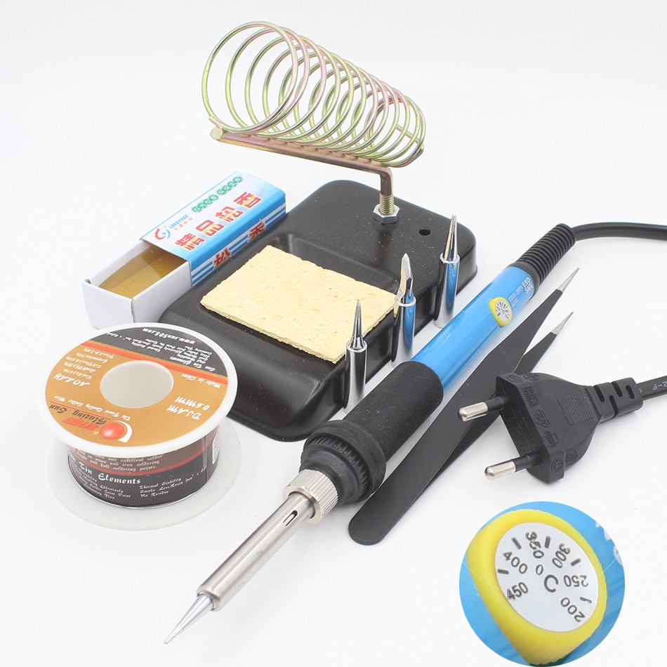Thermostatic Electric Soldering iron 60W 220V Solder Station With Iron Stand Solder Wire tweezers Welding Repair Tool Kit 936 soldering station 220v 60 65w electric soldering iron for solder adjustable machine make seals tin wire solder tip