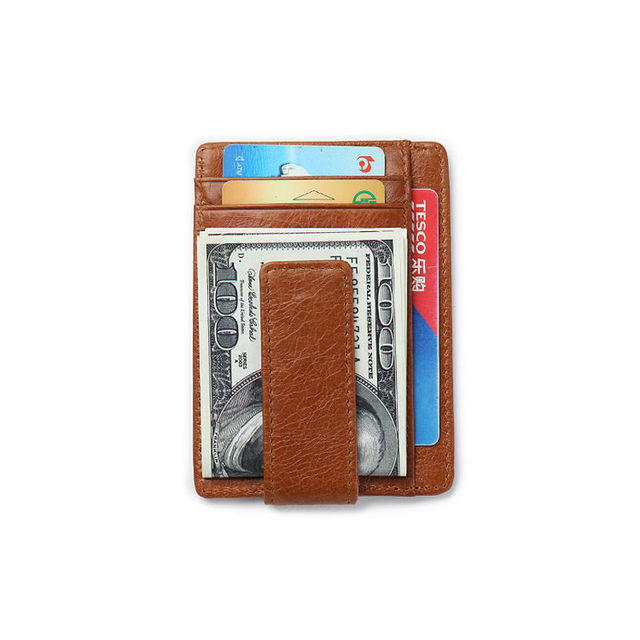 RFID Blocking Small Men Wallet Slim Front Pocket Wallet with Magnet Cash Clip Cow Leather Card Holder ID Case Overwatch Purse