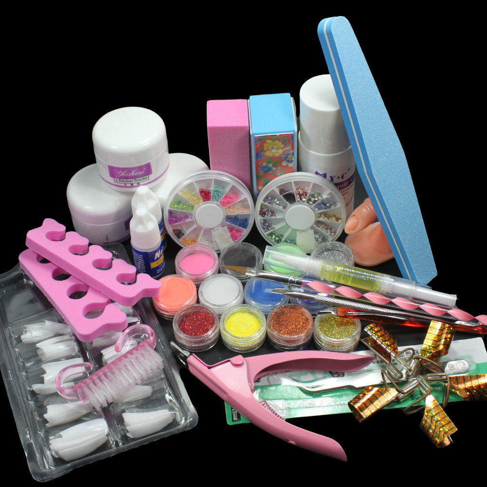 Nail Art Set Acrylic Liquid Glitter Powder File Brush Form Tips