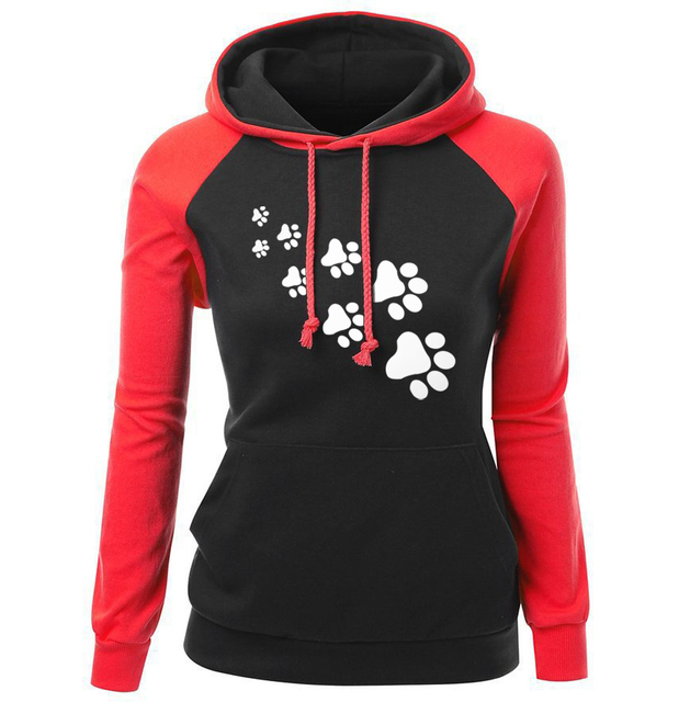 2018 Autumn Winter Fleece Women's Sportswear Harajuku Print CAT PAWS Cartoon Kawaii K-pop Clothing Streetwear Hoodies Sweatshirt 3