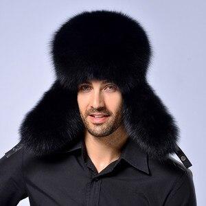 Image 2 - חם גבוהה סוף יוקרה פרווה כובע גברים של שועל פרווה כובע ליי פנג כובע אוזן כובע פרווה הכרחי כובע אמיתי פרווה כובע 100% כבש למעלה שועל כובע