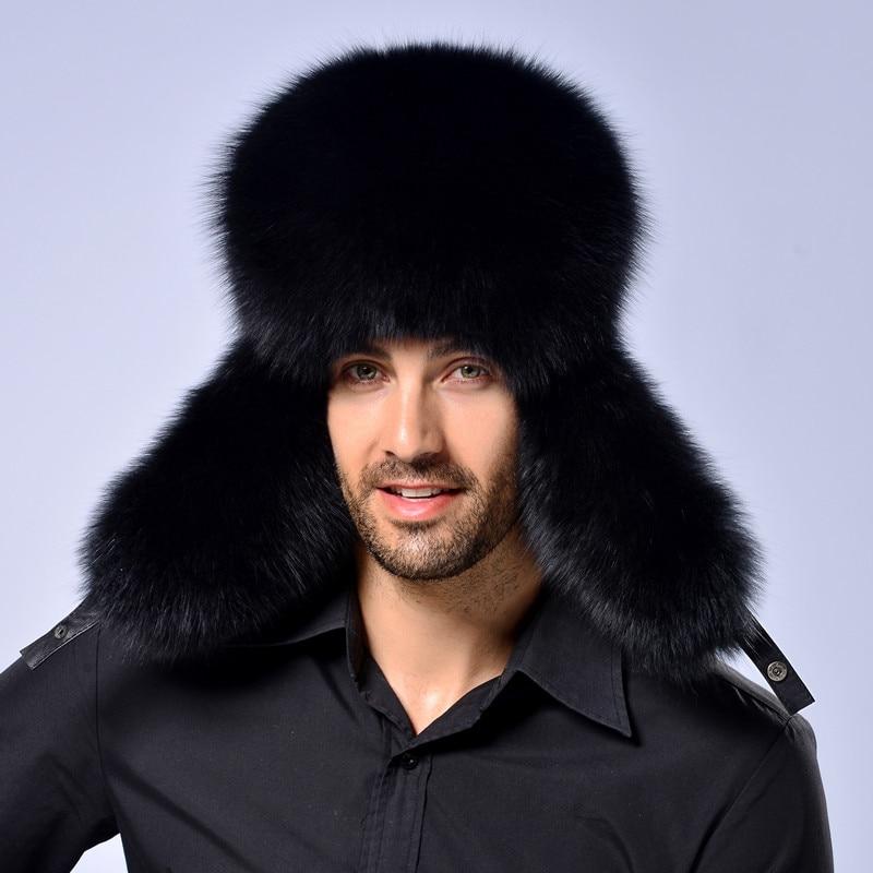 Caliente de alta gama de piel de lujo sombrero de piel de zorro de los hombres Lei Feng cap ear cap piel necesaria sombrero - 2