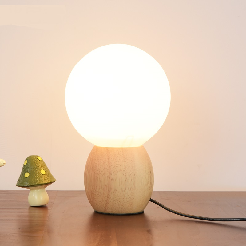 The modern creative bedroom bedside lamp Nordic wood kids living room decoration round head table lamps LO72917 2016 new mediterranean lighthouse led lamp children s room bedroom lamps creative bedside table lamp