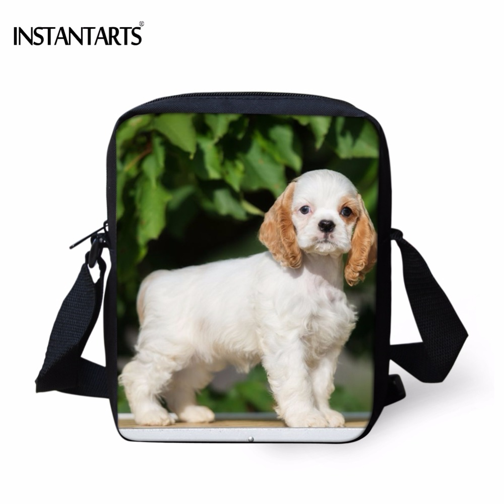 INSTANTARTS Mini Kindergarten School Bags Boys Girls Cute 3D Cocker Spaniel Dog Print Children Messenger Bags Funny Kids Satchel