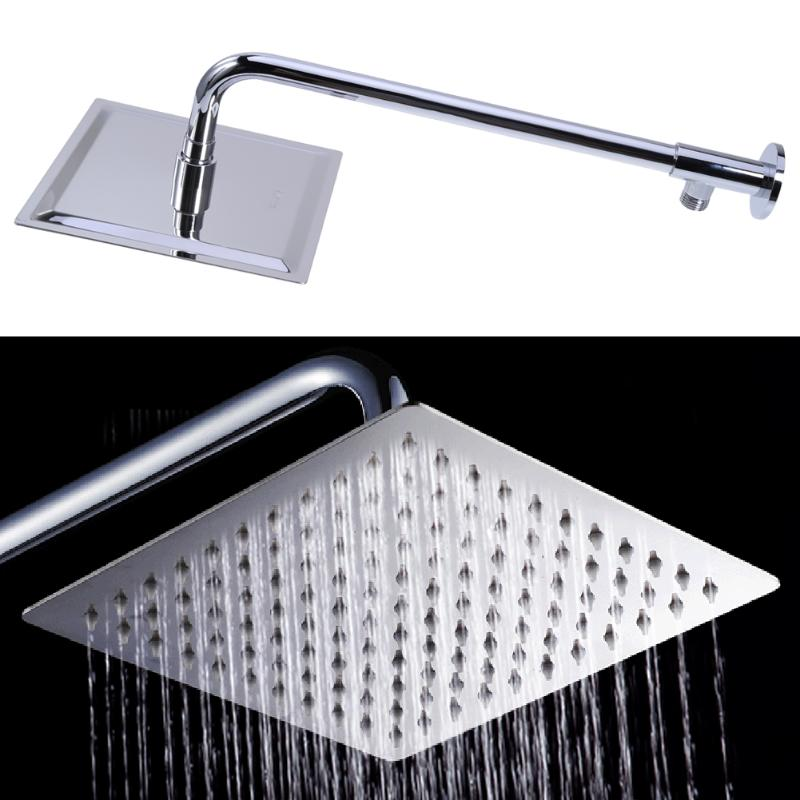 Shower Head 8 inch Square Stainless Steel with Extension Arm Bottom Entry H Over head Shower Sprayer Head Chrome Finish