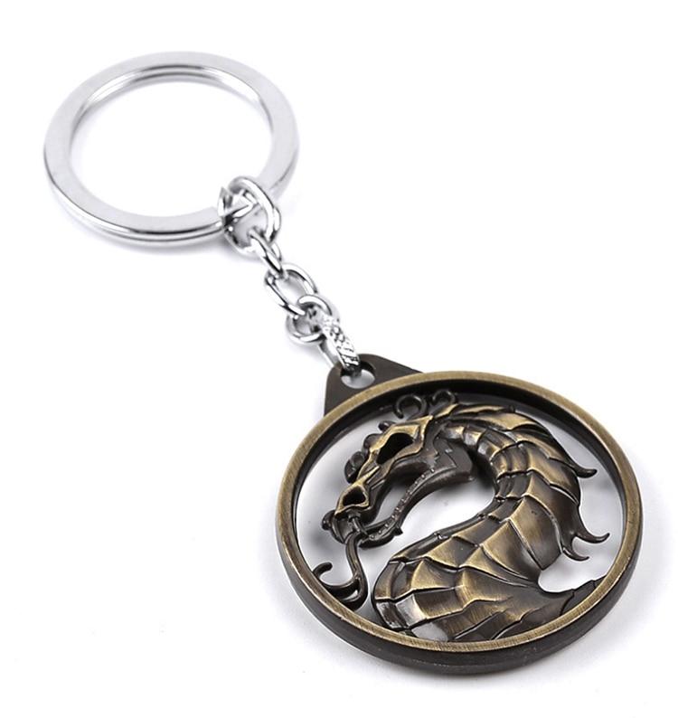ZRM модный винтажный брелок для ключей Mortal Kombat с изображением дракона тотема, брелок для ключей из сплава, подарок для мужчин, аксессуары для автомобильных ключей - Цвет: Bronze Keychain