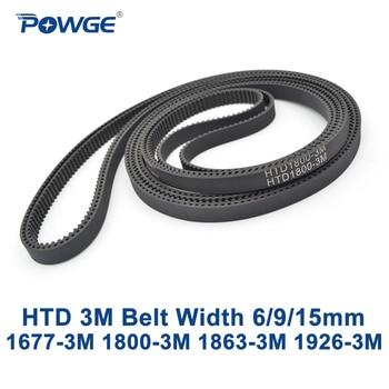 POWGE HTD 3M Timing belt C=1677 1800 1863 1926 width 6/9/15mm Teeth 559 600 621 642 HTD3M synchronous 1677-3M 1800-3M 1926-3M