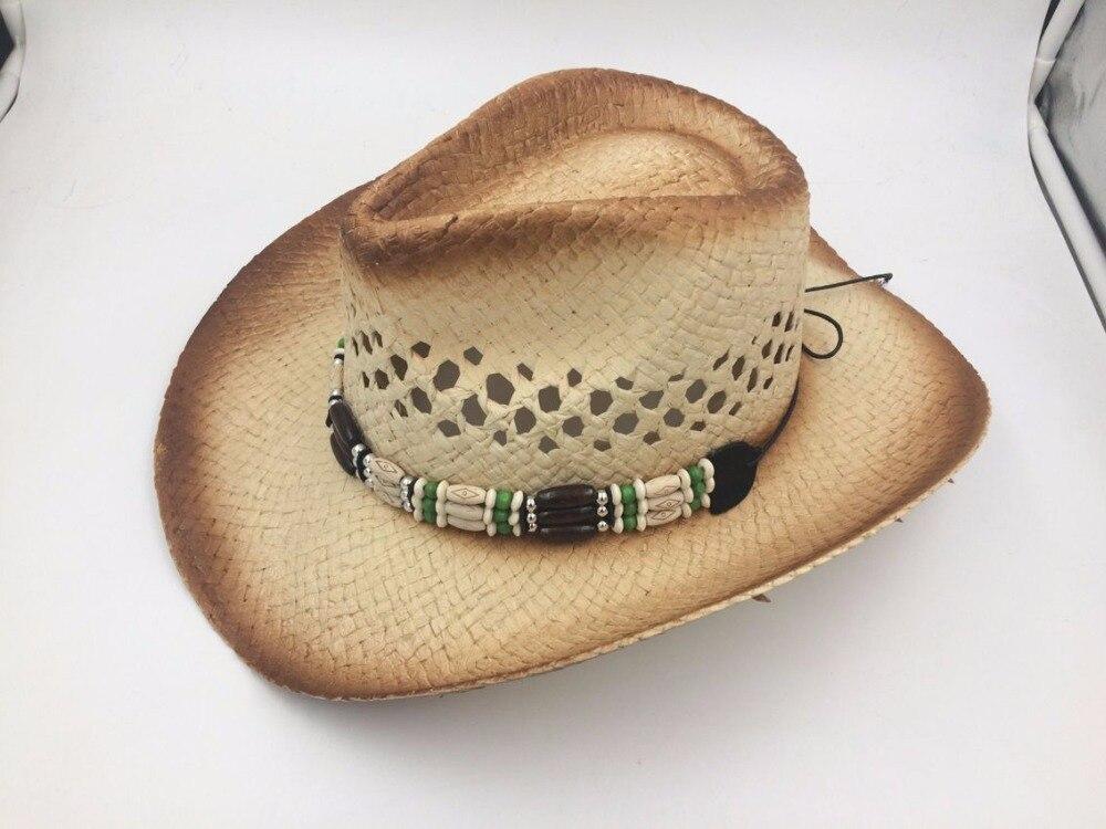 Handmade Raffia Hollow Cowboy Hat With Punk Rope  4