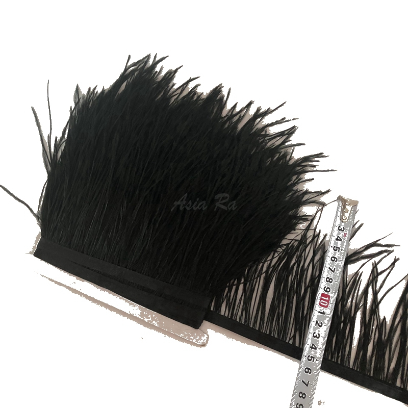 Black color Ostrich feather fringe 10 Meter lot 10 15cm long 4 6 for Craft Pad