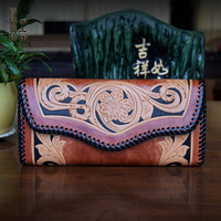 OLG YAT Handmade Women Wallets Banquet Handbag Womens Purse Vegetable Tanned Leather Wallet Long Hasp Carving