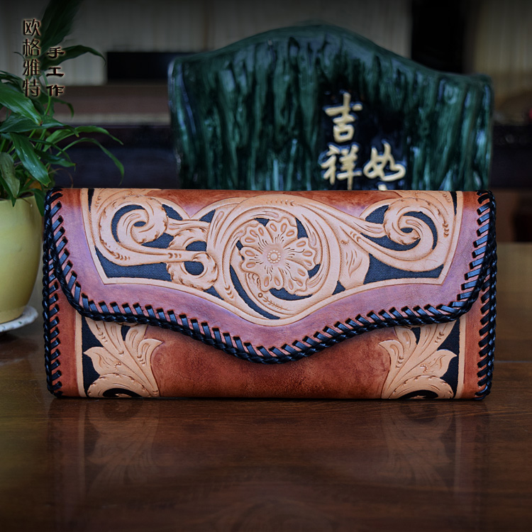 OLG.YAT  handmade women wallets banquet handbag womens purse Vegetable tanned leather wallet long hasp Carving bag retro pure olg yat leather handmade wallet men purse womens handbag italian vegetable tanned cowhide wallets the book button long handbags