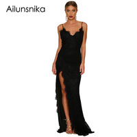 Ailunsnika Black Yum Lacy Lace Bridal Party Gown Spaghetti Strap Backless Special Occasion Long Dress Vestidos
