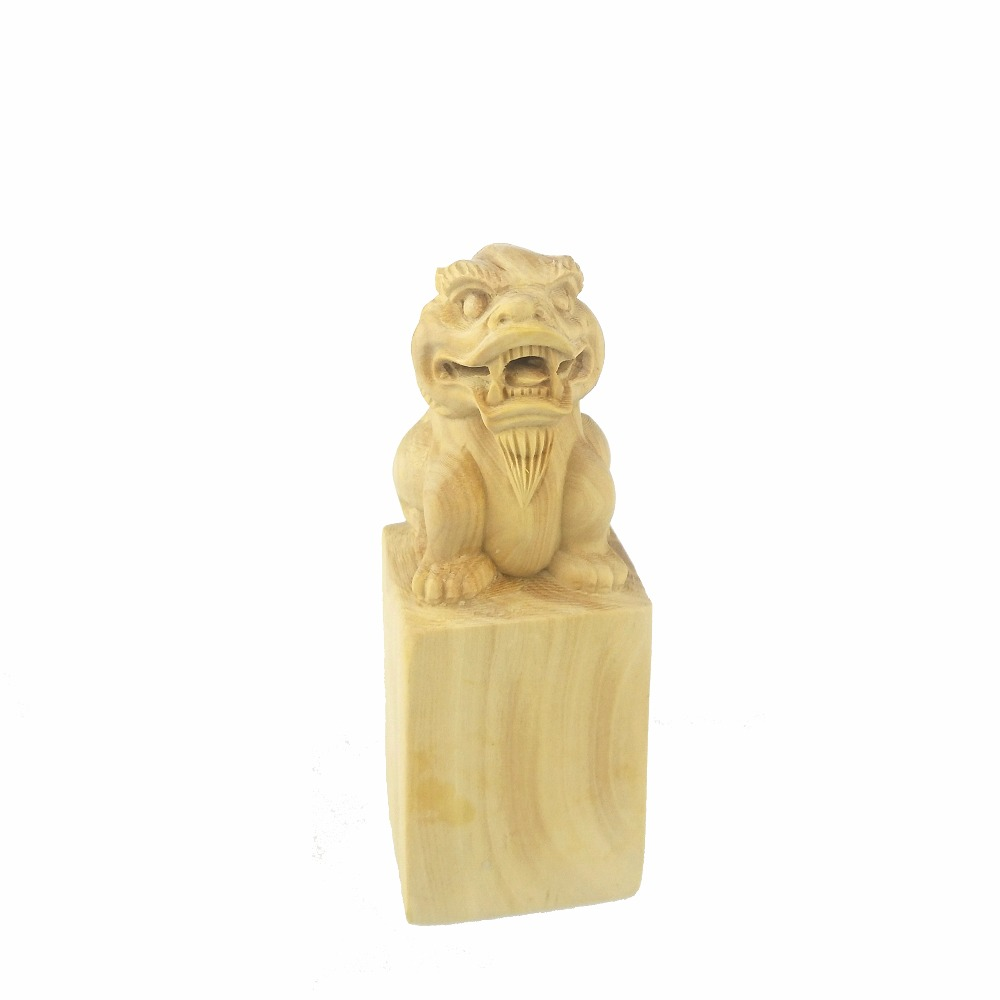 Wooden animals ornaments - Chinese Creative Decoration Boxwood Carving The Mythical Wild Animal The Seal Furnishing Handmade Artwork Manualidades Sculpture