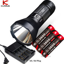 KLARUS G35 Flashlight CREE XHP35 HI D4 max 2000 lumen beam throw 1000 meter torch with 18650 3600mAh battery CH4S Smart charger(China)