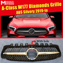 A-Class W177 grille grill Diamonds Sport ABS Silver With Camera For MercedesMB A180 A200 A250 A45 look grills Without Sign 2019+