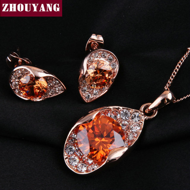 ZYS026 Orange Crystal  Rose Gold Color Noble Eaegance Jewelry Necklace Earring Set Made with Austrian SWA Element Crystals