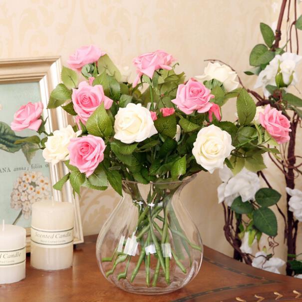 2 Bourgeons Fleur Tete Rouge Rose Vraie Touche Soie Rose Bouquet