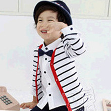 Baby Boys Girls Clothes Outerwear Black And White Striped Tops Long sleeve Buttons Cardigan Jacket Coat Children Kids Blouses
