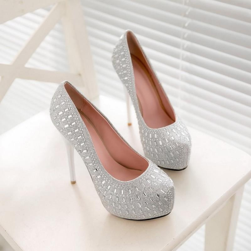 Size 32 42 Wedding Party Shoes Women High Heel Pumps Sexy Platform Inside  Fashion Rhinestone Thin Heel Brand Heels Footwear-in Women s Pumps from  Shoes on ... 3dc65a5357