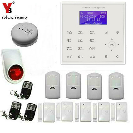 все цены на Yobang Security APP Control Touch Key WIFI GSM GPRS Alarm System Wireless Home Security Smoke Detector PIR Motion Sensor