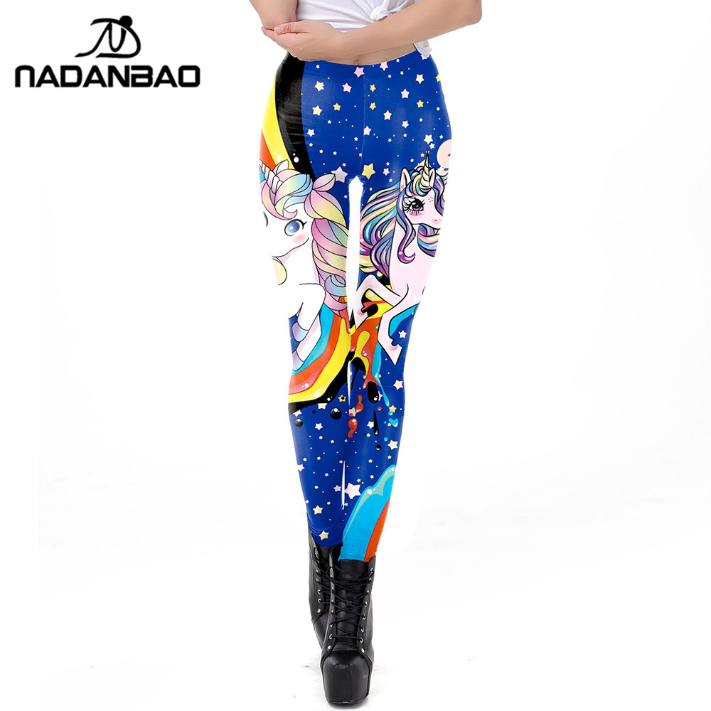 NADANBAO 2019 Galaxy Women Leggings 3D Kawaii Unicorn Printed Leggin Workout Female Fitness Legging Plus Size Leggins