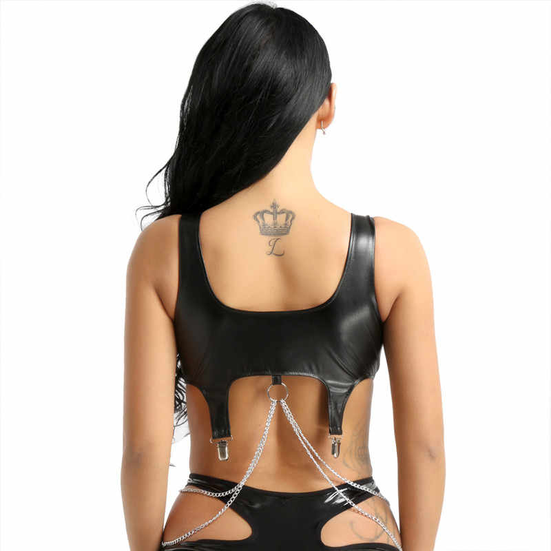 Moda mujer PU Chaleco de cuero ancho correas de hombro con cadena de borla de Metal y Clips Tank Crop Tops Bralette sujetadores Top clubwear