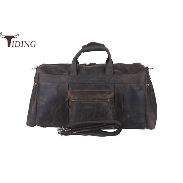 Tiding Luxury Large Crazy Horse Leather Mens Travel Bag Vintage Duffle Brand Luggage Tote