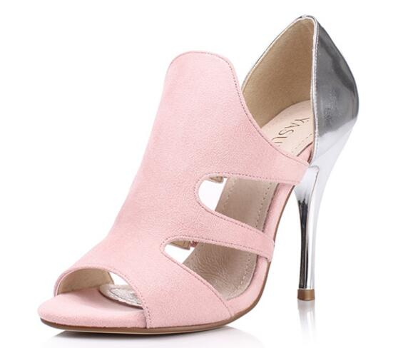 ФОТО 2017 hot selling peep toe high heel sandal woman cutouts thin heels shoes pink suede gladiator sandal woman summer shoes