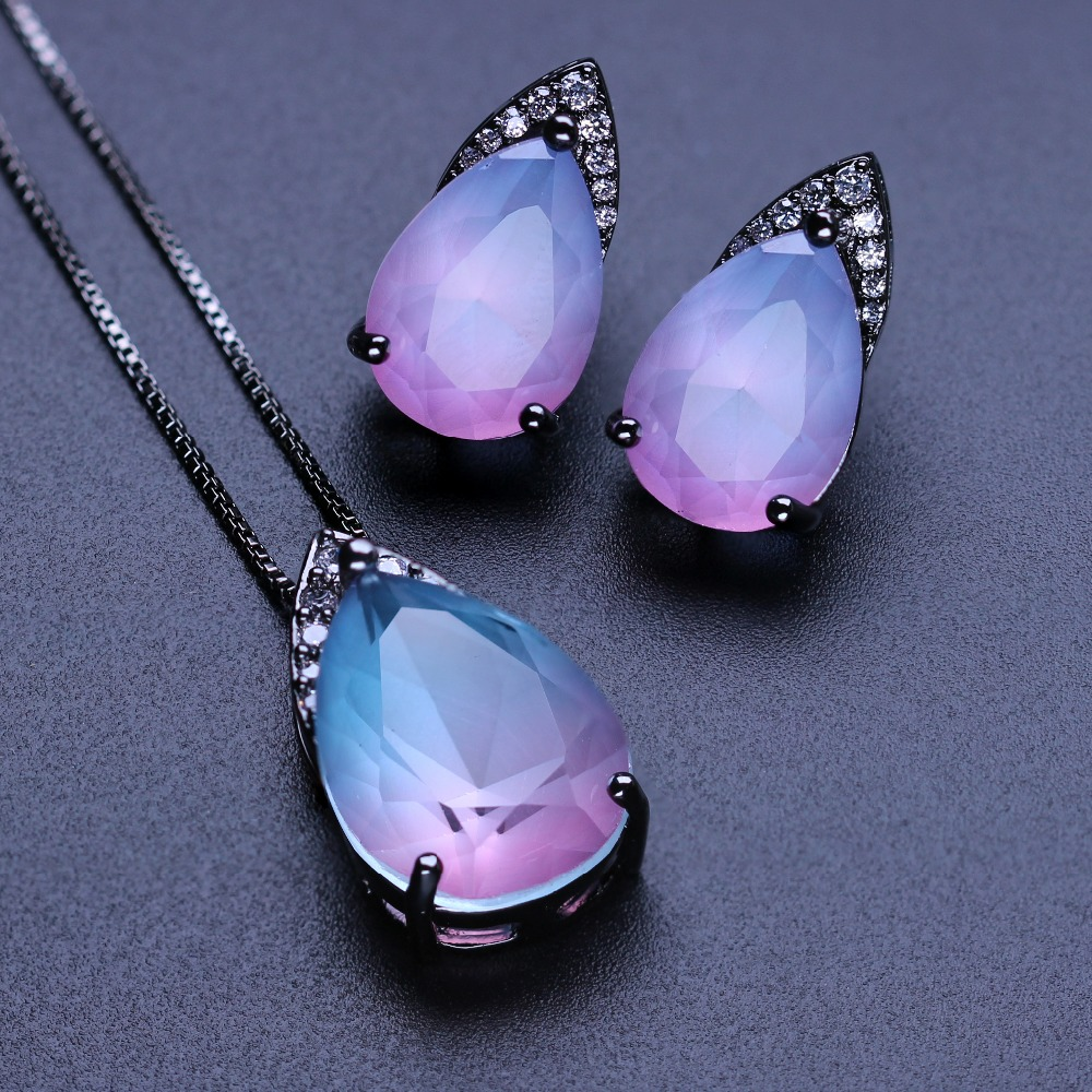 MW Water Drop shape earring and pendant necklace set fusion stone with cubic zirconia jewelry set for women gift SFX0011452 chic multi layered water drop shape pendant necklace for women