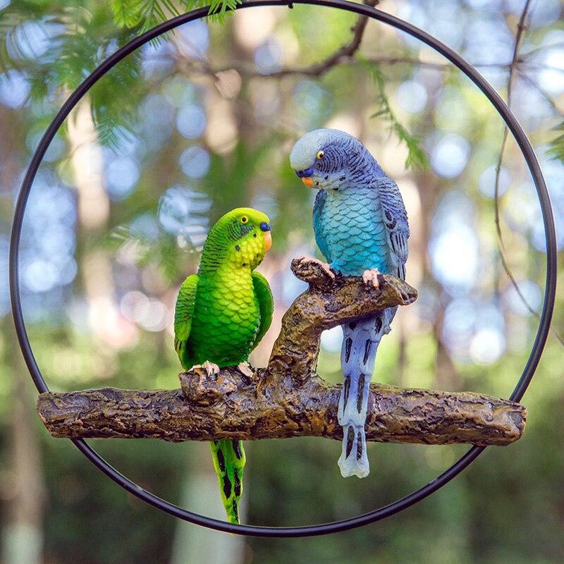 Décoratif figurines perroquet avec support jardin porte oiseaux décoration statues animal artificiel artisanat arbre suspendus sculpture