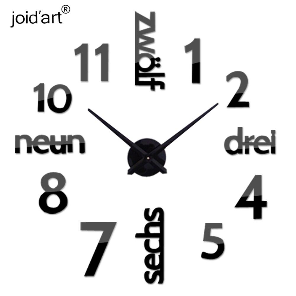 2019 nový příchod Quartz hodiny módní hodinky 3d skutečné velké nástěnné hodiny spěchal zrcadlový štítek diy obývací pokoj dekor